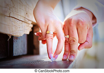 Flirting hands - Two hands. Man and woman fingers