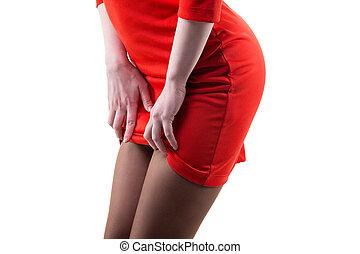 Flirting slim woman in red dress