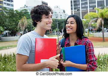 Flirting student couple on campus