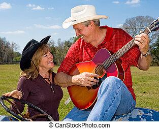 flirtując, śpiew, żona, kowboj, &