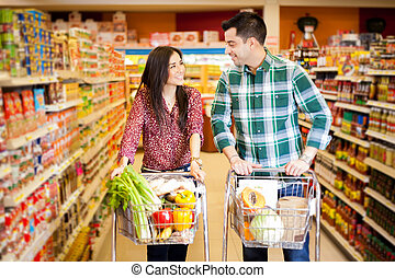 flirtując, supermarket