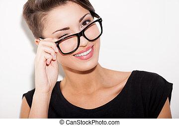 flirty, 美麗, 短, 眨眼, 她, beauty., 調整, 年輕, 頭髮, 婦女肖像, 你, 眼鏡