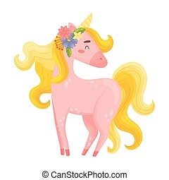 Flirty Light Pink Unicorn With Pretty Flowers In Hair...
