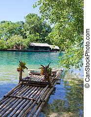 floß, auf, der, bank, von, der, blaue lagune, jamaika