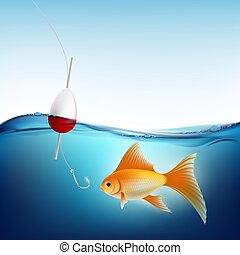 float., eau, crochet, vecteur, peche, poisson rouge,...