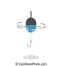 Float, fishing line and hook. Logo symbol with reflection in...