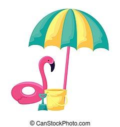 float flemish with umbrella and bucket vector illustration design