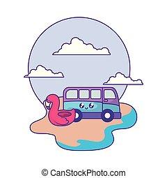 float flemish with van vehicle kawaii in the beach