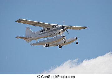 Float Plane - Amphibious landing aircraft in flight