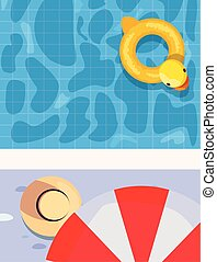 float pool chick umbrella summer time vacations design