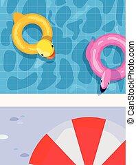 float pool umbrella summer time vacations design