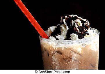 Float vanilla icecream on dark mocha smoothie