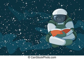 Floating astronaut reading a book in the open space, concept of poster