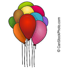 Floating Balloons - Colorful baloons floating high in the...