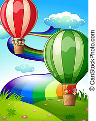 Floating balloons with kids - Illustration of the floating...