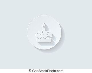 Floating Birthday Cake Icon with Long Shadow