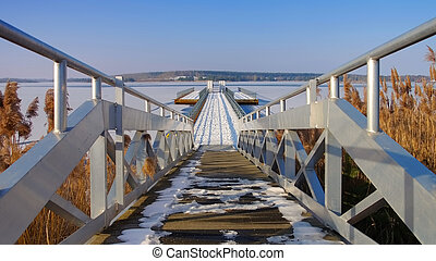 Floating bridge in winter, Lusatian Lake District