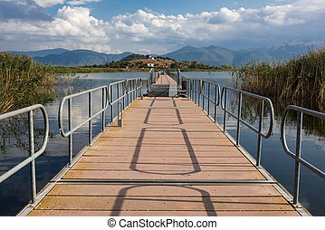Floating bridge - View of the floating bridge at the Mikri (...