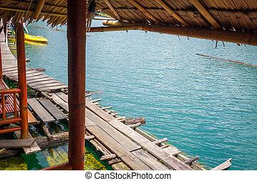 Floating bungalow in Cheow Lan Lake, Khao Sok, Thailand