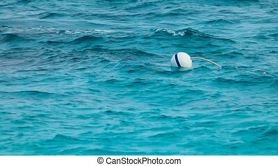 Floating Buoy. - Floating Buoy On Open Sea.