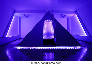 Floating camera in the form of a pyramid in the recreation center