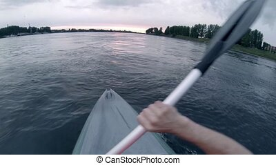 Floating Canoe - Shot from in the kayak showing the forward...