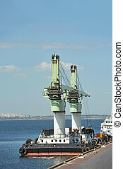 Floating cargo crane