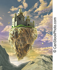 Fantasy castle floating on a big rock over a gorgeous sunset landscape. Digital illustration.