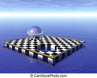 Floating Checkerboard with Steel Sphere on blue ocean