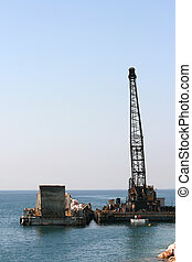 floating crane and barge