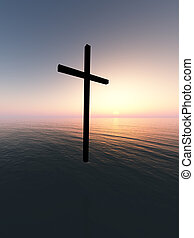 Floating Cross Over The Sea 10