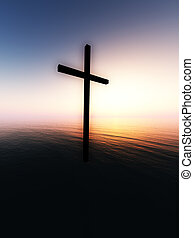 Floating Cross Over The Sea 11