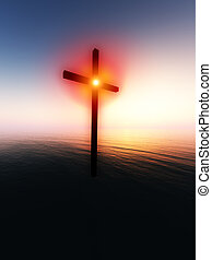 Floating Cross Over The Sea 12