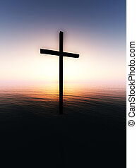 Floating Cross Over The Sea 6