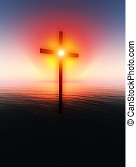 Floating Cross Over The Sea 7