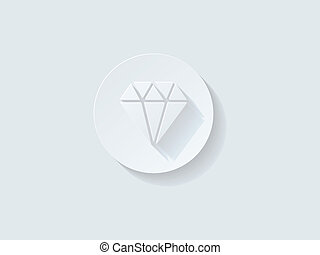 Floating Diamond Icon with Long Shadow