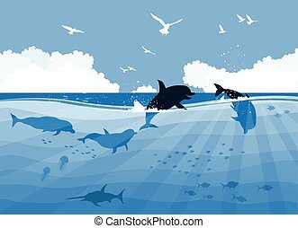 Floating dolphins on a sea background
