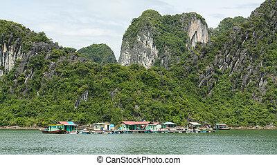 Floating fisherman's village in ha long bay