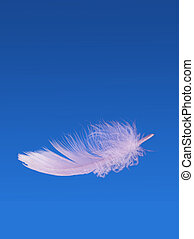 Floating fluffy feather - weightless, light - Light as a...