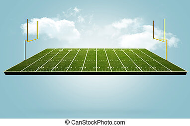 Floating Football field - Football field floating in the...