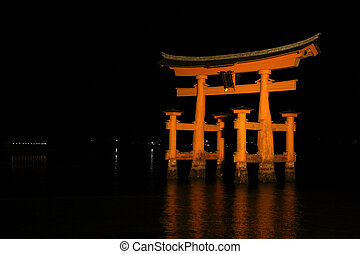 Floating gate of Itsukushima Shrine in Japan