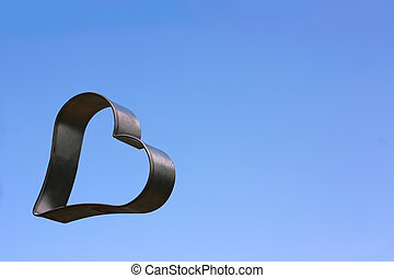 Floating Heart with Sky Background