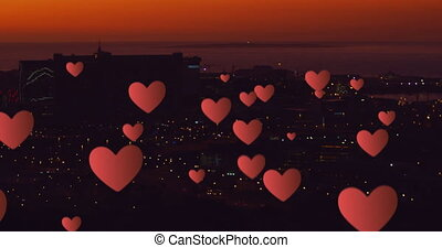 Floating hearts at a city 4k