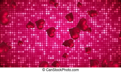 Floating hearts with a sequenced background