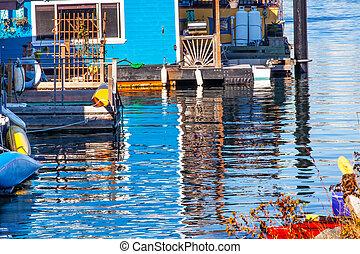 Floating Home Village Blue Houseboats Reflection Inner Harbor Vi