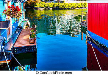 Floating Home Village Blue Red Houseboats Fisherman's Wharf Refl