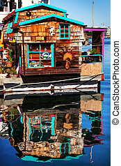 Floating Home Village Brown Houseboat Fisherman's Wharf Reflecti