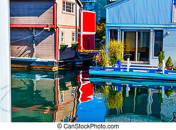 Floating Home Village Red Blue Brown Houseboats Fisherman's Whar