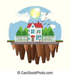 Floating house, flying home. Part of the rural and urban landscape. Vector illustration in flat style.