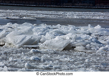 Floating Ice Blocks on the River